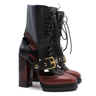 Burberry Cutout Leather and Snakeskin Platform Boots