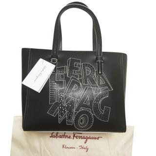Salvatore Ferragamo Black Leather Tote