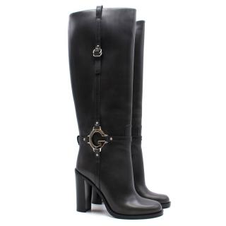 Gucci 'G' Logo Knee High Leather Boots