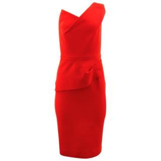 Roland Mouret Dress Asymmetric Pleated Dress