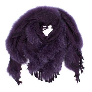 Gucci Purple Wool and Fox Fur Scarf