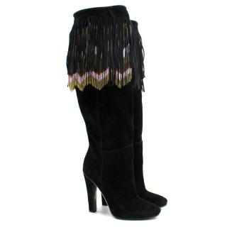 Jimmy Choo Bill Black Suede Multi-Colour Beaded Fringe Knee High Boots