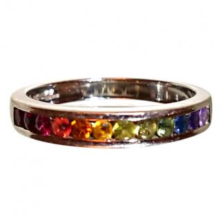 Judy Mayfield rainbow Sapphire ring 18ct white gold
