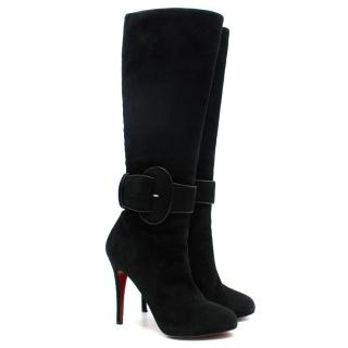 Christian Louboutin Black Suede Knee-High Buckle Boots