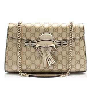 Gucci Monogram Two Pendant Tassel Shoulder Bag
