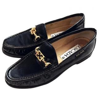 Escada Black Leather & Pony Hair Slip On Loafers