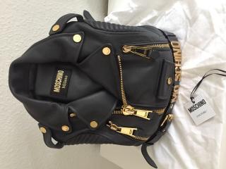 Moschino Black Biker Backpack