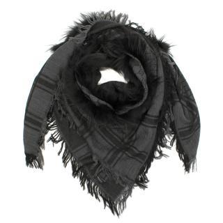 Gucci Dark Grey Wool and Fur Scarf