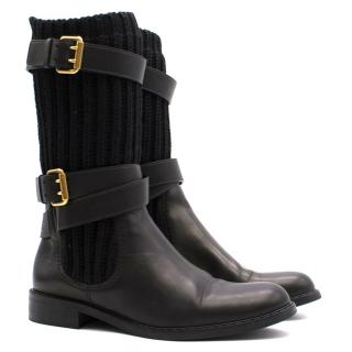 Gucci Double Buckle Boots with Wool Detailing