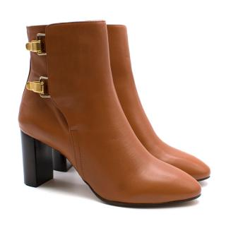 Chloe Double Buckle Tan Ankle Boots