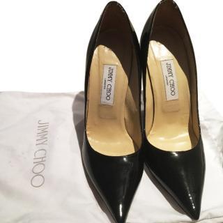 Jimmy Choo Patent Black stilettos
