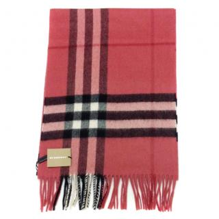 Burberry Classic check pink blush cashmere scarf