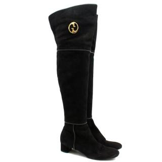 Gucci 'GG' Logo Suede Knee-High Boots