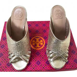 Tory Burch Gold Mule