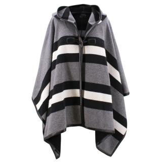 Gucci Wool Blend Grey, Black & White Poncho