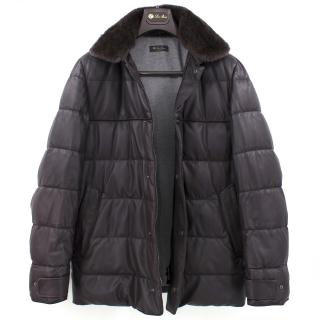 Loro Piana Reindeer Fur Collar Quilted Leather Jacket