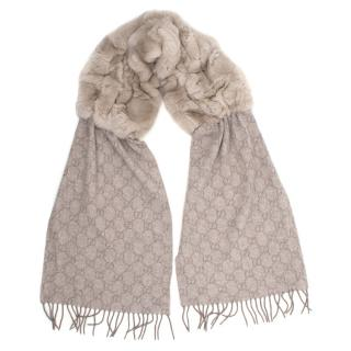 Gucci Beige Scarf With Rabbit Fur
