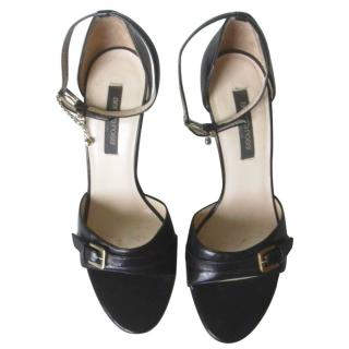 Sergio Rossi Black Leather High Heel Sandals