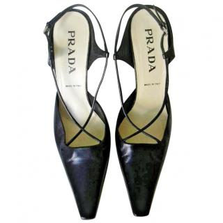 Prada Black Criss Cross Strap Pumps