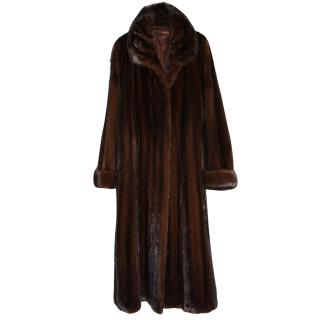 Saga Furs Sable Brown Real Mink Fur Coat