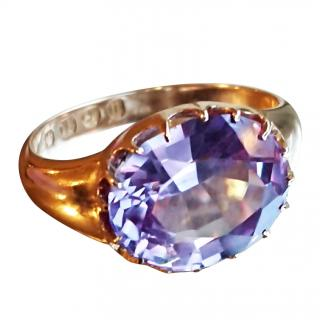 Victorian Sapphire ring Birmingham 1887 18ct gold