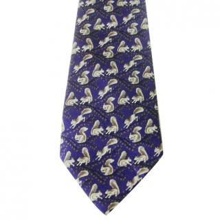 Hermes Blue Squirrels Motif Silk Neck Tie
