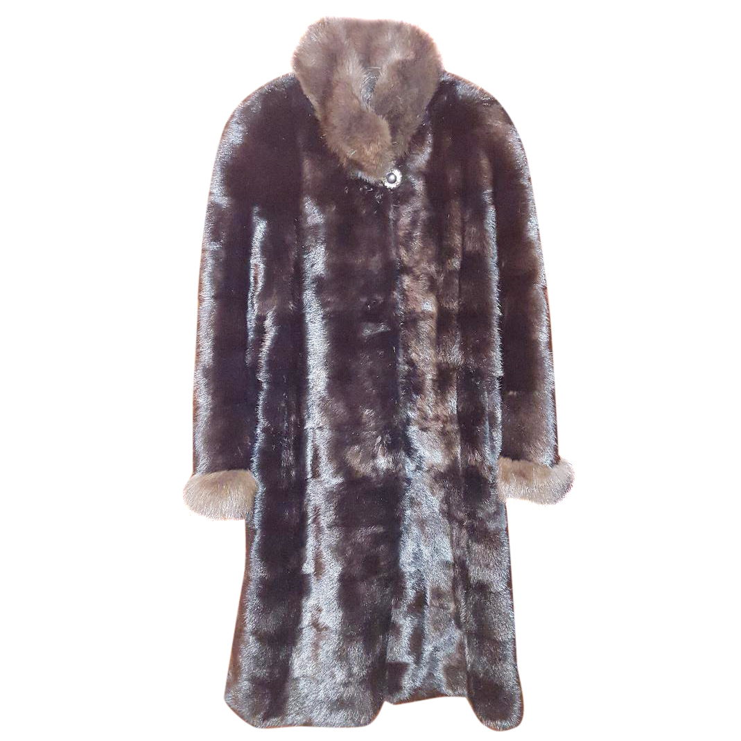 Bespoke sheared Mink coat with sable collar and cuffs