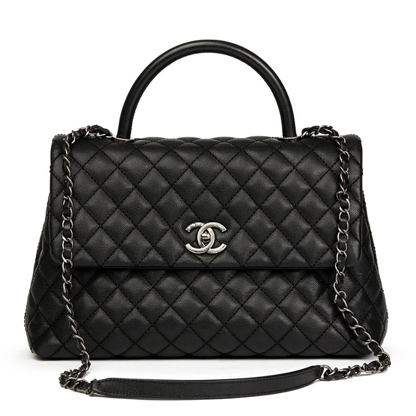 cd77c6ae9b3c Chanel Black Quilted Caviar Leather Large Coco Handle 2017