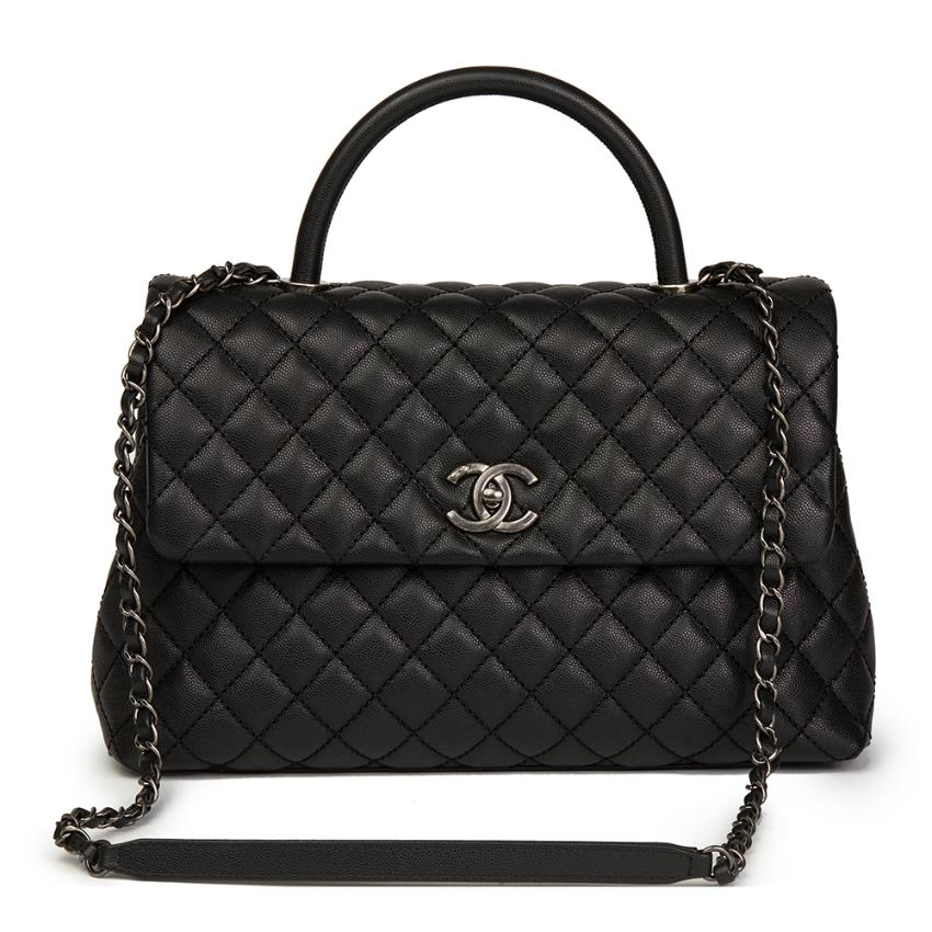 faa1637b2e66 Chanel Black Quilted Caviar Leather Large Coco Handle