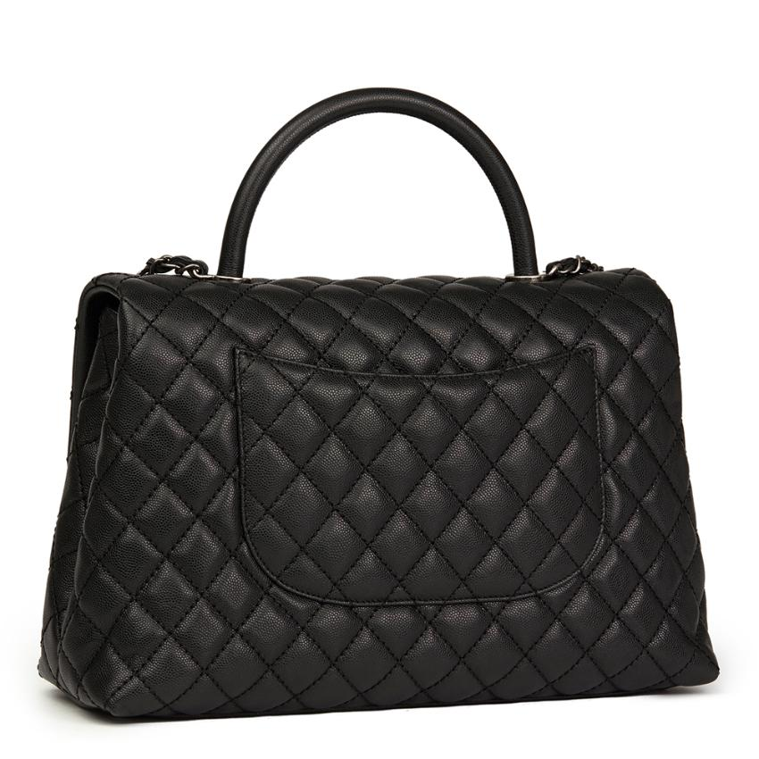 074d550da2ea Chanel Black Quilted Caviar Leather Large Coco Handle. 29. 12345678910