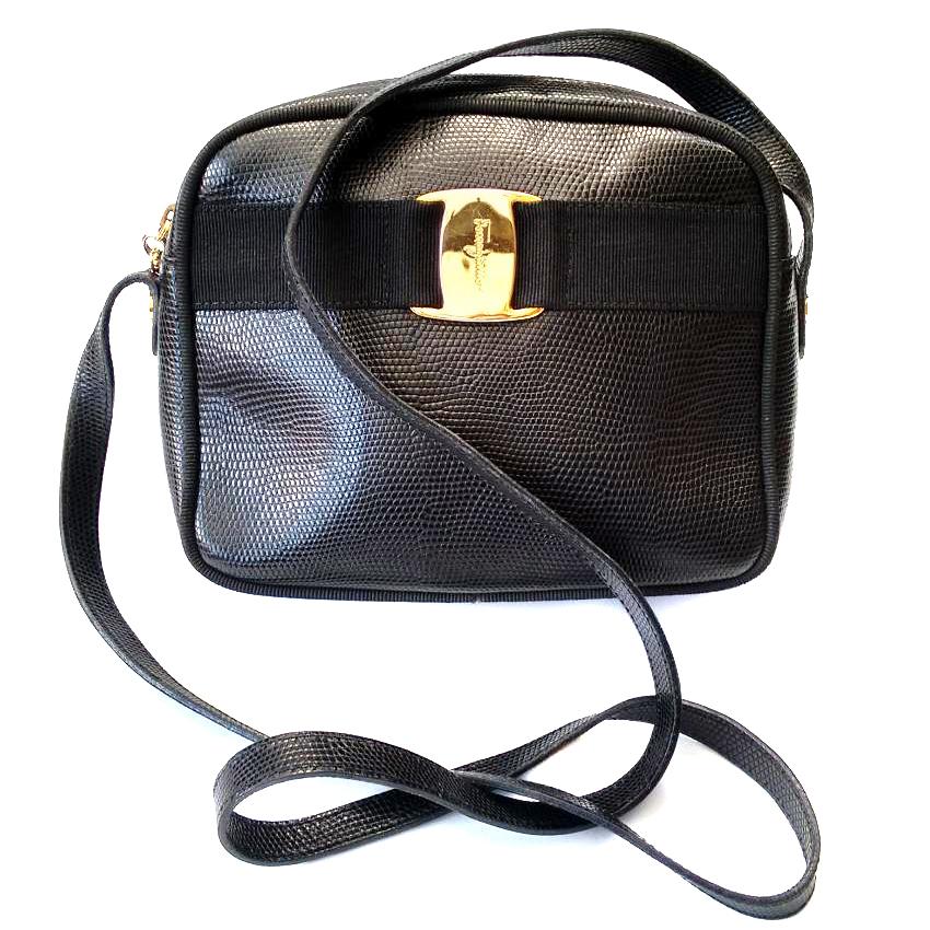 Salvatore Ferragamo Vintage Black Lizard Embossed Leather Shoulder Bag  d81d9914f41bb