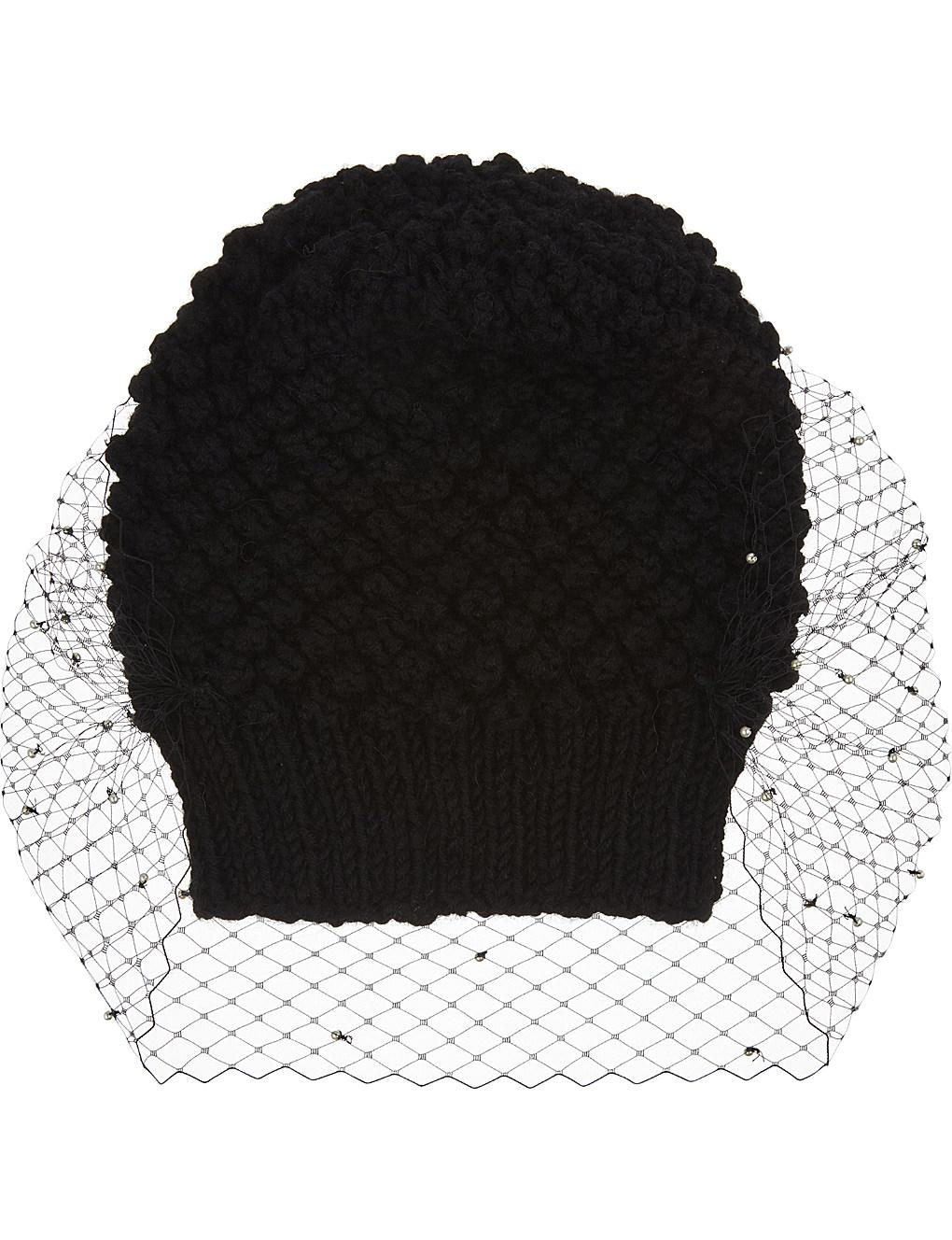 11020cb057e8b Jennifer Behr Embellished Alpaca Veiled Beanie Hat