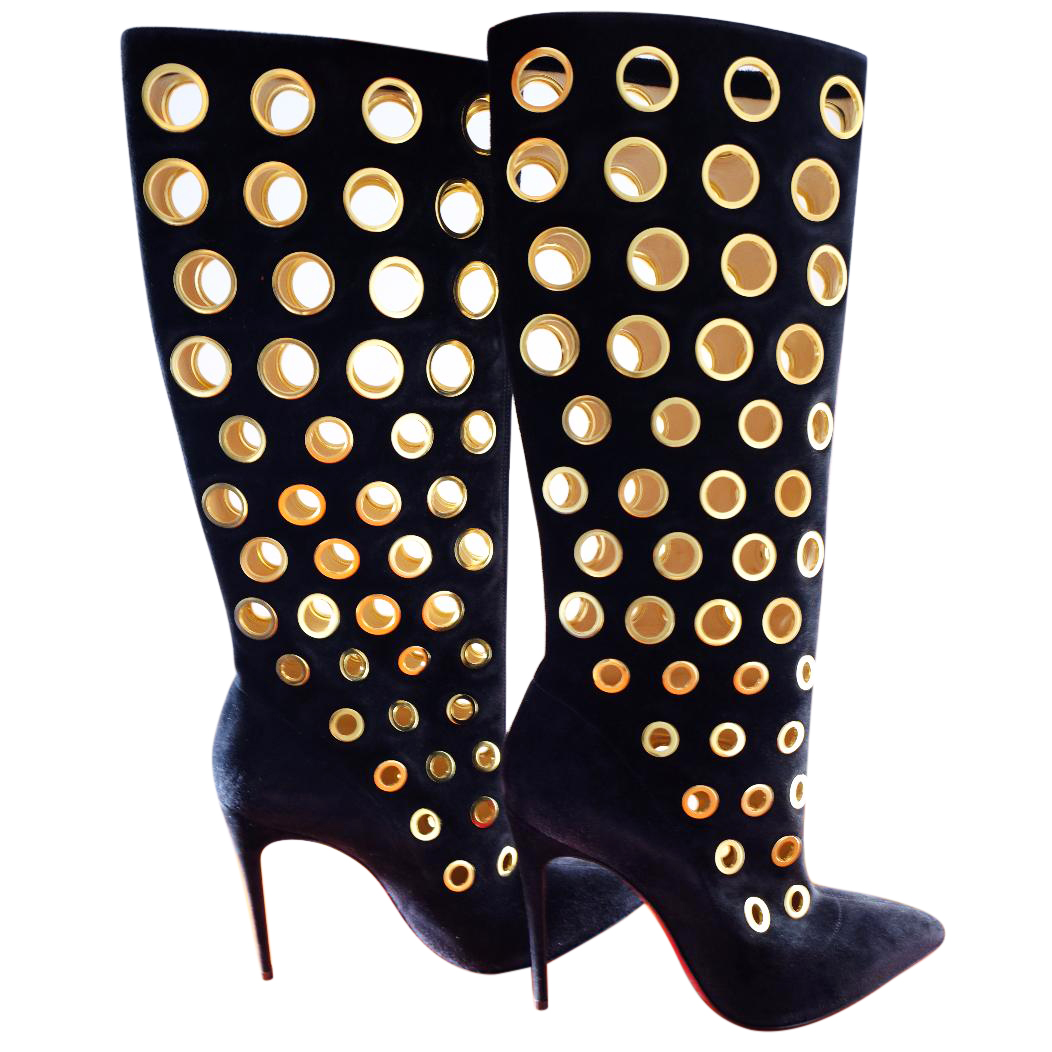 official photos 14bea dae77 NEW! Christian Louboutin Apollo Black Suede Embellished Knee Boot