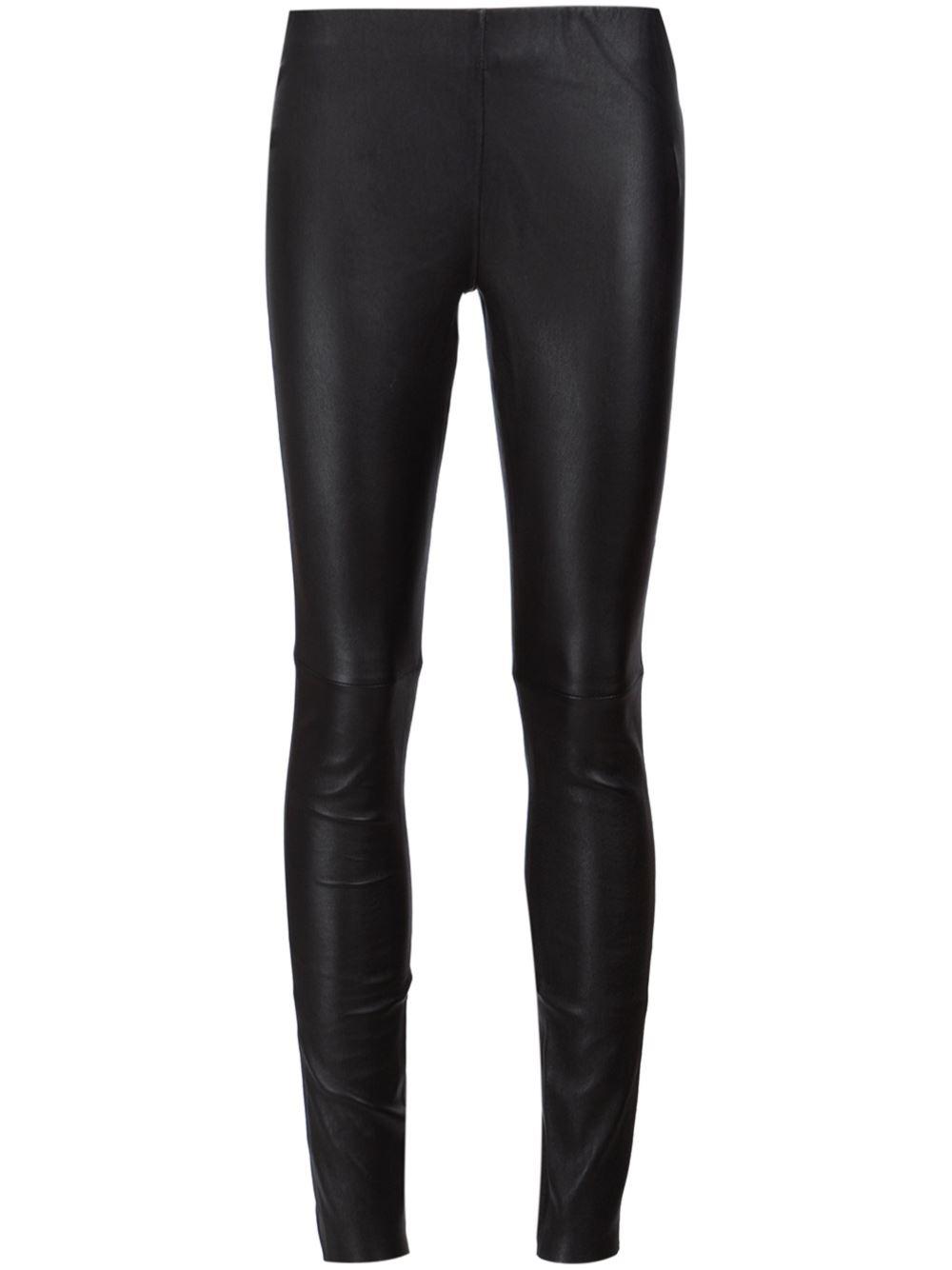 Anine Bing Black Leather Leggings - Current Season