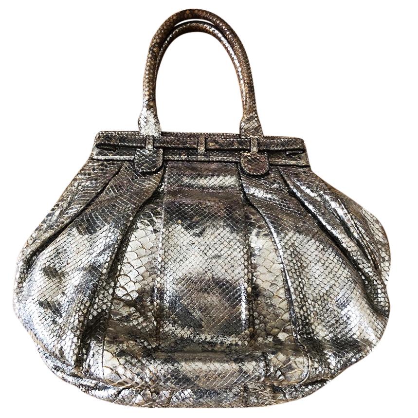 Zagliani silver python bag