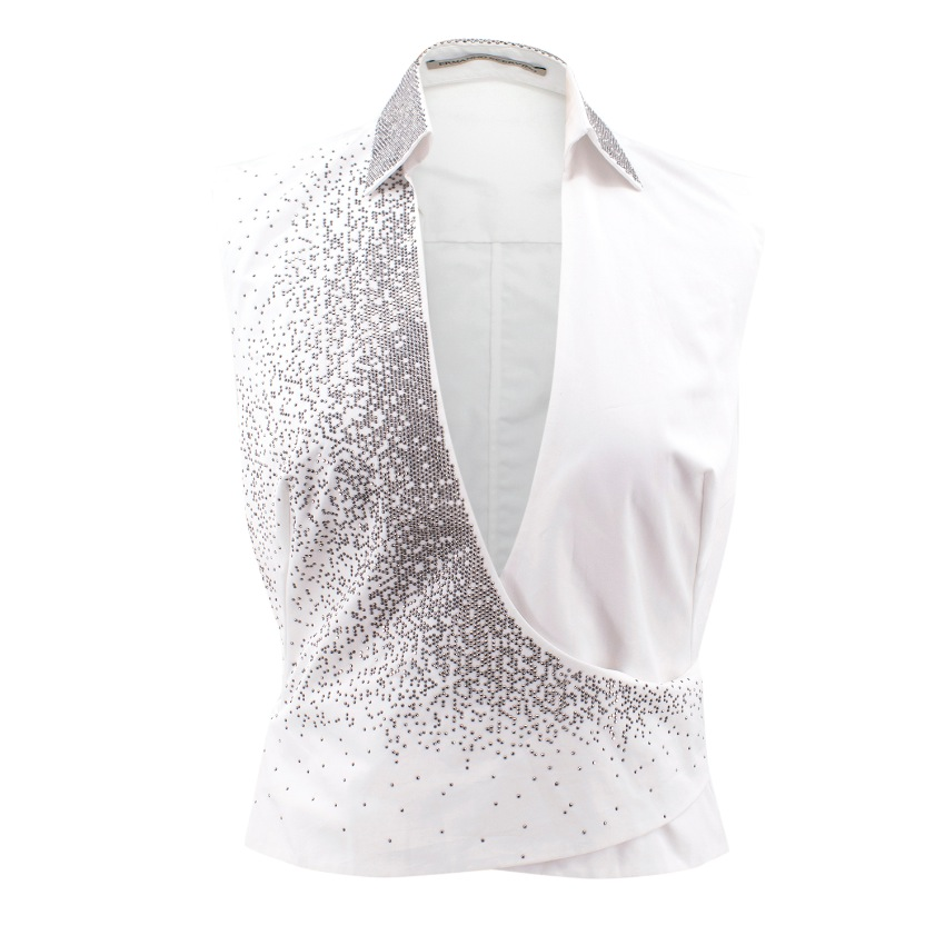 Ermanno Scervino Sleeveless Wrap Shirt with Crystals