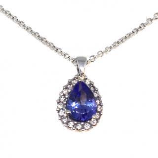 18ct White Gold Tanzanite & Diamond Necklace