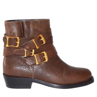 Rupert Sanderson Parnassus Brown Leather Biker Boots