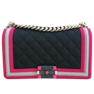 Chanel Medium Navy and Neon Pink Boy used once