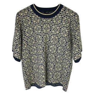 Joseph Navy And Gold Top. Size XL