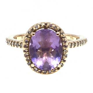 Vintage 18K Rose Gold Amethyst & Diamond Halo Ring