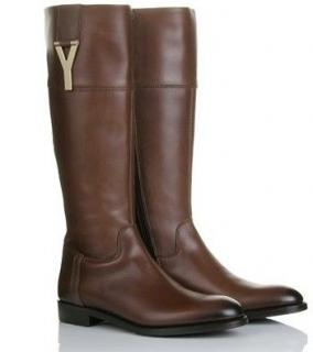 YSL Y Buckle Leather Riding Boots