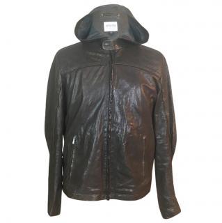 Armani Hooded Lambskin Leather Jacket