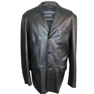 Hugo Boss Leather Blazer Box Jacket