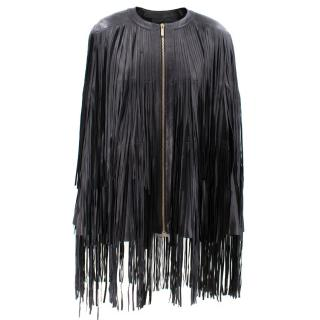 Elie Saab Fringed Leather Cape