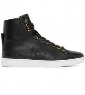 Versace Medusa Black Leather Hi Top Sneakers Trainers