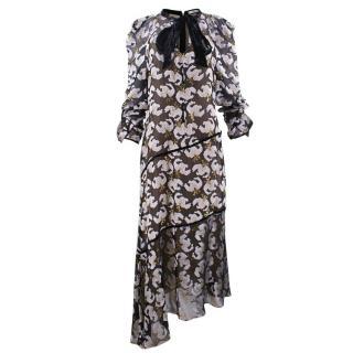 Erdem Black and White asymmetrical devore velvet dress