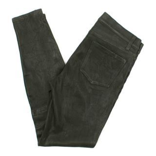 J Brand Dyed Lambs Leather Green Pants