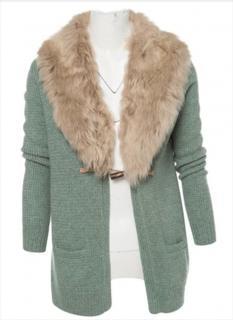 Ralph Lauren Hand Knit Cardigan with Faux Fur Collar