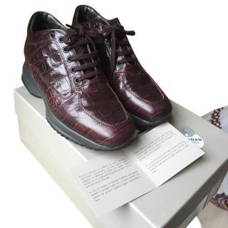 Hogan interactive trainers bordeaux croc leather